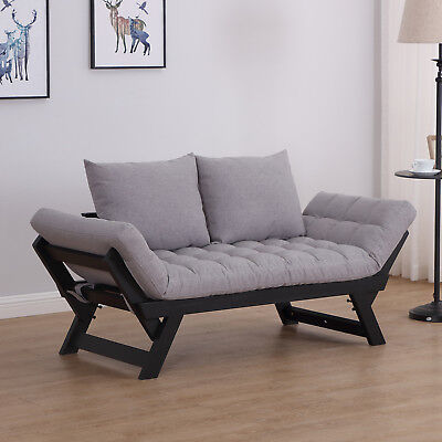 HOMCOM Sofa Bed Chaise Lounge Foldable Wood Pillow Linen Grey