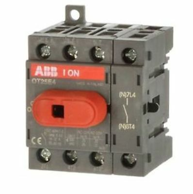 ABB OT25E4  4 Pole DIN Rail Non-Fused Switch Disconnector 25a 9 kW IP20