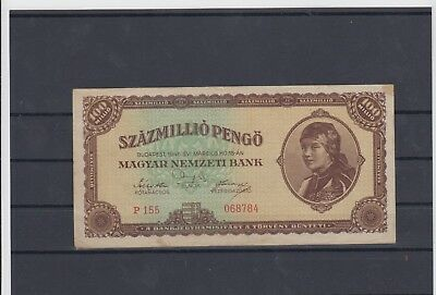 Hungary 1946 Used One Hundred Million Pengo Paper Bill