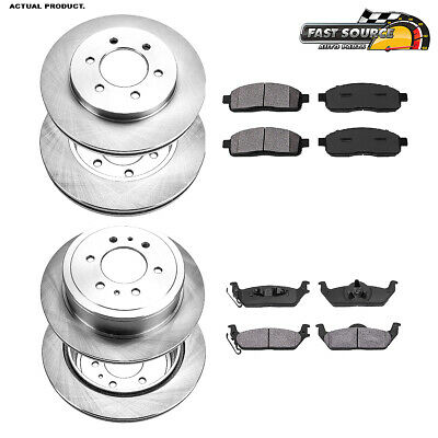FRONT BLACK Drill And Slot BRAKE ROTORS /& CERAMIC Pads For Ford Lincoln 4WD 4X4