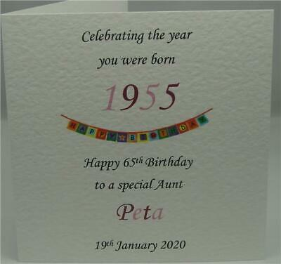 1954 Year You Were Born Personalised Wife Sister Aunt Female 65th Birthday Card