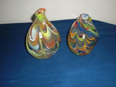 Two Mdina Glass Striped Vases Both With Labels