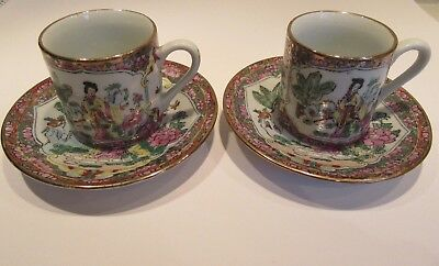 Exquisite Vintage CHINESE 2 DEMITASSE TEA CUPS & SAUCERS - PAINTED BY HAND