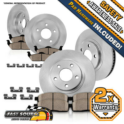 Front And Rear Rotors + Ceramic Pads 2000 2001 2002 2003 2004 Ford F150 4X4 4WD