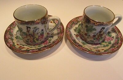 Beautiful Vintage CHINESE 2 DEMITASSE TEA CUPS & SAUCERS HAND PAINTED