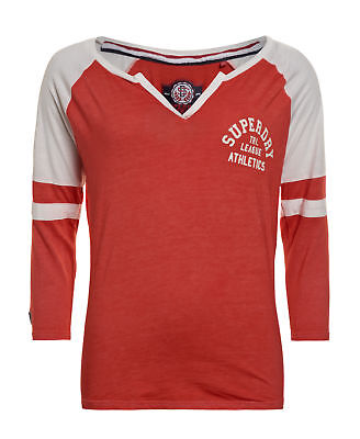 New Womens Superdry Factory Second Tri League Cut And Sew Baseball Top Red