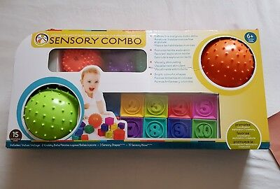 Hedstrom Sensory Shapes and Blocks 15 Piece Combo Pack (6+ Months)