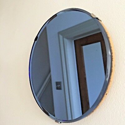 Small Round Vintage Frameless Mirror RARE BLUE TINTED Bevelled Wall / Strut 16cm