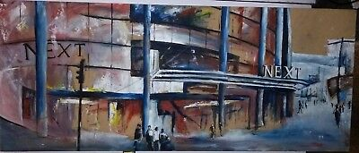 Large Original Oil/Acrylic Painting of Next Shop 48 x 20 inches