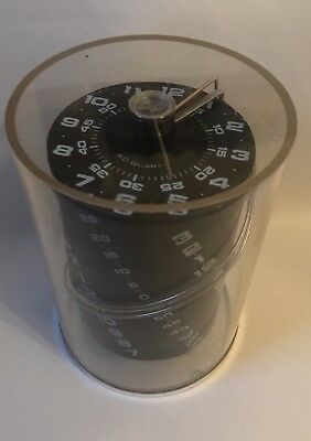 1979 Post Modern OMNI Clock Helical Face Acrylic Cylinder George Nelson era NR