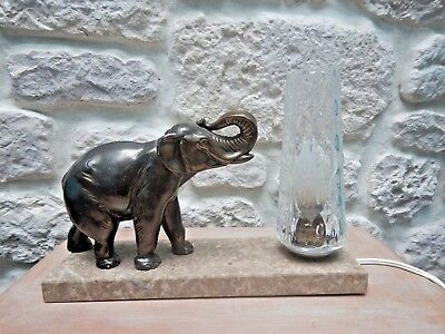 French Art deco elephant table lamp marble