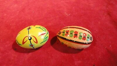 Beautiful Pair Of Vintage Hand Painted Wooden Eggs- Different Patterns