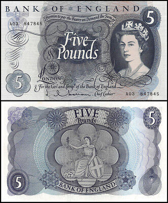Great Britain 5 Pounds, ND 1963-66, P-375a, UNC, Laureate Heads,QE II