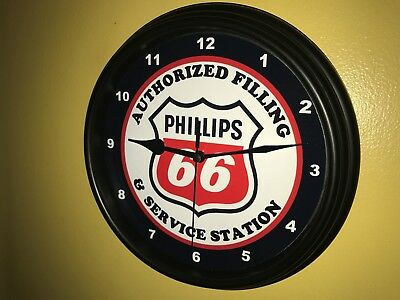 Phillips 66 Oil Gas Service Station Mechanic Garage Man Cave Wall Clock Sign