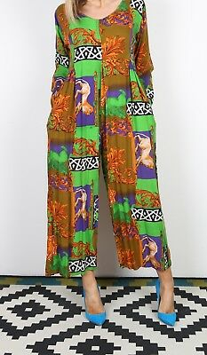 Jumpsuit Print Patterned UK 12 Medium All in one 80's (B3E)