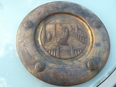 Arts & Crafts Copper Peacock Charger Alms Dish - Liberty ? Scottish - Repousse