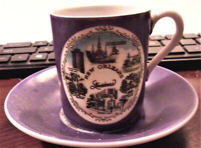 Cup and Saucer New Orleans Purple  Product of Japan FoilLLable  (CFD estate)