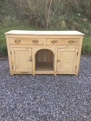 Antique Pine Kitchen Dog Kennel Sideboard / Cupboard With Drawers