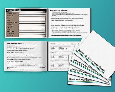 Vehicle Service Book - Blank History Log Maintenance Record Replacement. Car Van