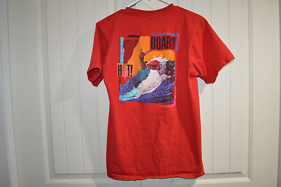 Red Hot Hobie Board Vintage 80's T-Shirt 1986 Surfer Teen Small or Child Large