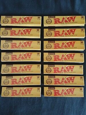 14 x Raw Classic King Size Slim Rolling Papers Natural Unrefined Organic 110mm