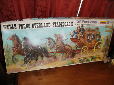 1/16 Wells Fargo Overland Stagecoach by Lindberg plastic and resin Parts! Nice!