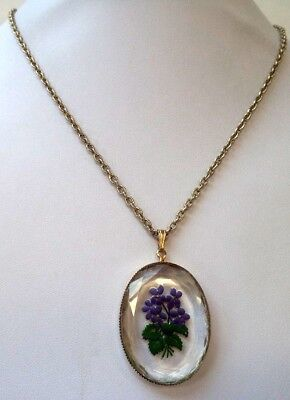 """Stunning Vintage Estate Reverse Painted Glass Flower 2"""" 24"""" Necklace!!! 8601W"""