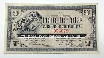1962 Canadian Tire Money 50 Fifty Cents CTC-5-D Circulated Mor Power Gas E168