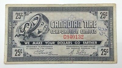 1962 Canadian Tire Money 25 Cents CTC-5-C Circulated Mor Power Gas E169
