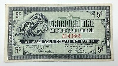 1962 Canadian Tire Money 5 Five Cents CTC-5-A Circulated Mor Power Gas E170
