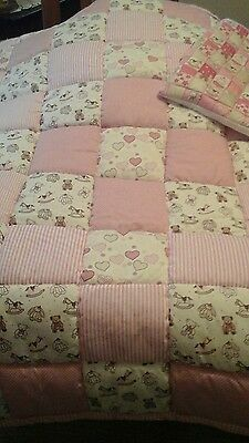 Bargain Handmade patchwork squares quilted Cot Panel and Cushion Cover in pink.