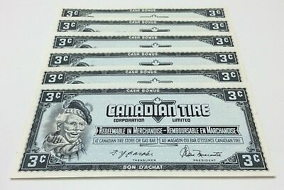 1974 Canadian Tire 6 Consecutive 3 Cents Bills CTC-54-A-AN Uncirculated E171