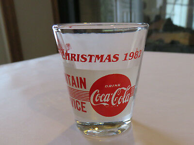 Coca Cola Shot Glass, Merry Christmas 1982 Fountain Service Drink Coca-Cola Red