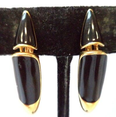 "Stunning Vintage Estate Signed Monet Gold Tone 1 1/8"" Clip Earrings!!!! 8602W"