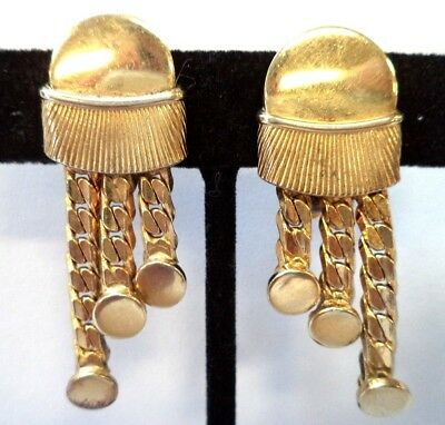 "Stunning Vintage Estate Signed Bartek Gold Tone 2"" Clip Earrings!!!!! 8602X"