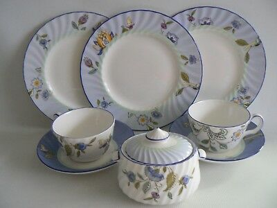 MINTON Haddon Rise China Blue Edge Cups Saucers x 3 Plates Sugar Bowl