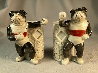 Unusual Pair Of German Porcelain Anthropomorphic Bulldogs As Pugilists, Super!