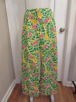 VTG THE LILLY Pulitzer Pants Green Yellow Red Orange Bird of Paradise Pants Sz 6