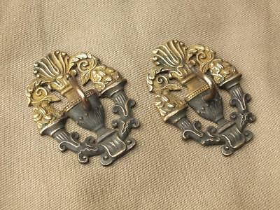 Small Pair Antique Ornate Brass Curtain Tie Back Hooks,