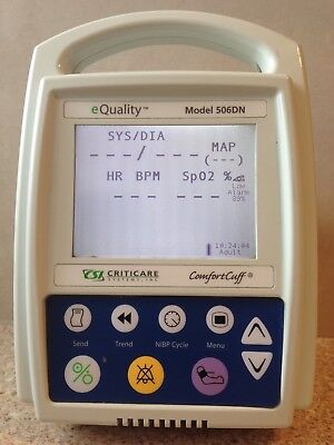CRITICARE eQUALITY 506DN PORTABLE PATIENT MONITOR. NEW SPO2/PULSE + NIBP