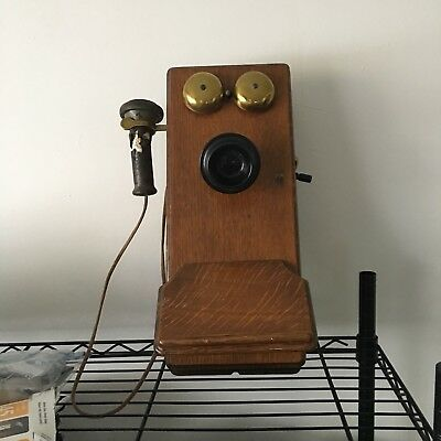 Antique Western Electric Wall Oak Cabinet Telephone