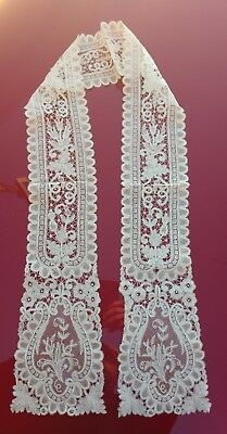 Exceptional Antique Hand Made Brussels Lace Stole Lappet 4 Dress