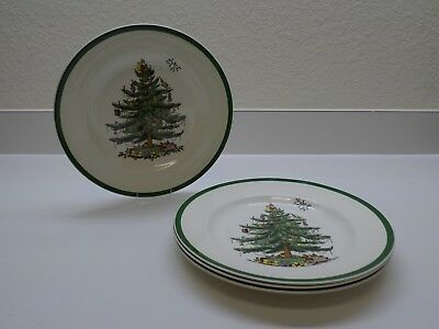 """Spode Christmas Tree Dinner Plates Made in England 10 3/4""""  Set of 4"""