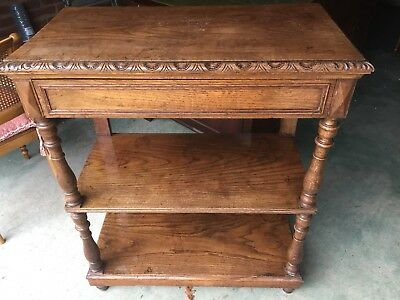 Large Circa 1900's 2 Tier Oak Buffet or Dumb Waiter With Drawer