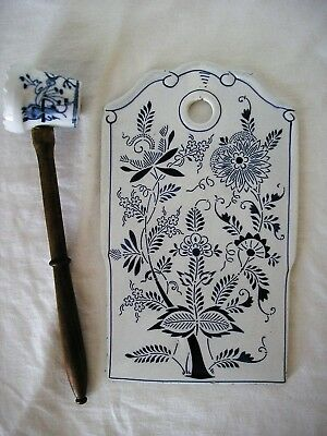 Vintage Ceramic Blue Onion Wall Plaque Tray Cutting Board & Meat Tenderizer