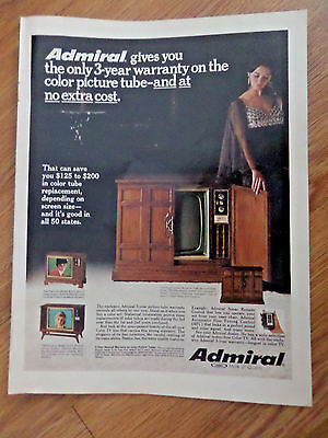 1969 Admiral TV Ad 3 Year Warranty on the Color Tube