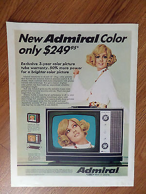 1969 Admiral TV Television Ad  New Color only $249.95