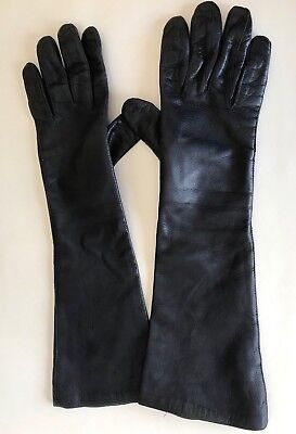 Vtg Women's Black Leather Gloves Size 7 Elbow Vintage Bamberg  Lined  - Italy