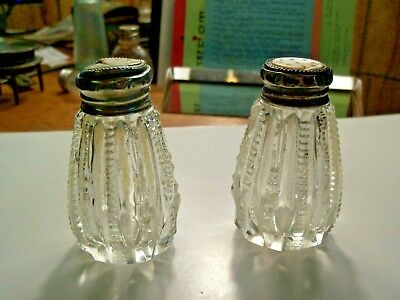 """Cut Glass Salt and Pepper Shakers 2 3/4"""" High Silver Tops"""