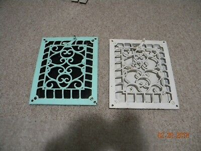 Matched Set Of Working Vintage Cast Iron Wall Registers Grates With Louvers